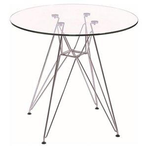 Table de salle à manger ronde Eames de Nicer Interior, 47 po x 47 po, métallique/transparent