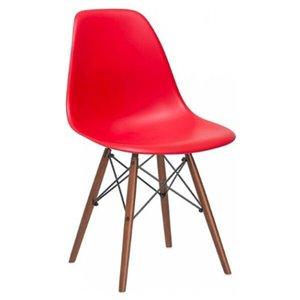 Chaise pour salle à manger Eiffel de Nicer Interior, rouge/bois brun, ens. de 4