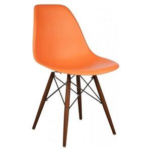 Chaise pour salle à manger Eiffel de Nicer Interior, orange/bois brun, ens. de 4