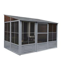 Gazebo Penguin Florence Permanent Rectangle Gazebo with Metal Roof - Steel - 8-ft x 12-ft - Grey