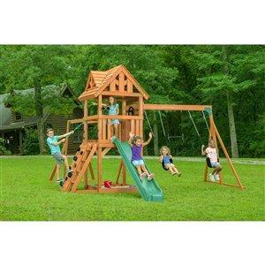 Ensemble de jeu extérieur Mountain View Lodge de Creative Cedar Designs, toit en bois/accessoires verts