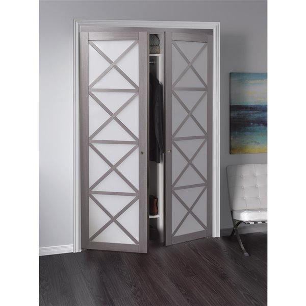 Renin Crochet Pivot Closet Door - 60-in x 80-in - Silver Oak