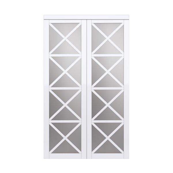 Porte coulissante d'intérieur Lace de Renin, 60 po x 80 po, blanc