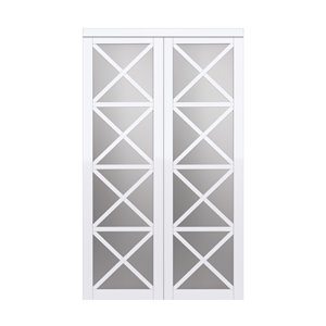 Renin Lace Sliding Closet Door - 72-in x 80-in – White