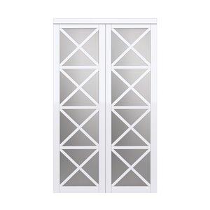 Porte coulissante d'intérieur Lace de Renin, 72 po x 80 po, blanc