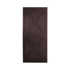 Renin Double X- Design Rustic Pre-Drilled Barn Door - 42-in x 84-in - Espresso