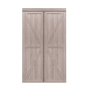 Renin Trident Sliding Closet Door - 72-in x 80-in - Silver Oak