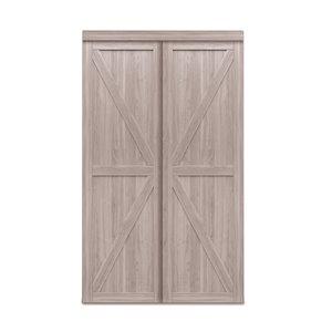 Porte coulissante d'intérieur Trident de Renin, 72 po x 80 po, chêne argenté