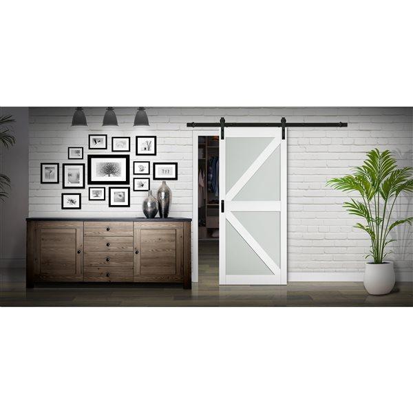 Renin K-Design Lite Frosted Glass Barn Door - 36-in x 84-in - White