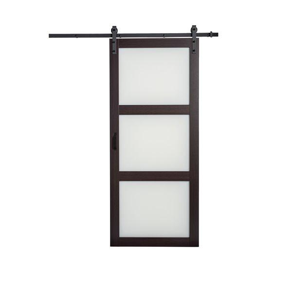 Renin 3 Lite Frosted Glass Barn Door - 36-in x 84-in - Espresso