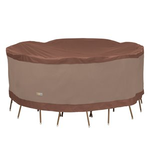 Duck Covers Ultimate Round Table and Chair Set Cover - Polyester - 84-in - Mocha Cappuccino