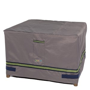 Duck Covers Soteria Rain Proof Square Patio Ottoman Table Cover - Polyester - 32-in - Grey