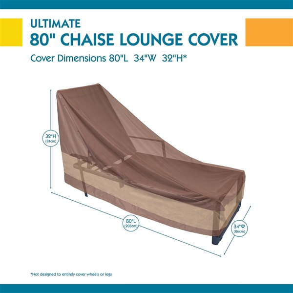 Duck Covers Ultimate Patio Chaise Lounge Cover - Polyester - 34-in x 80-in - Mocha Cappuccino