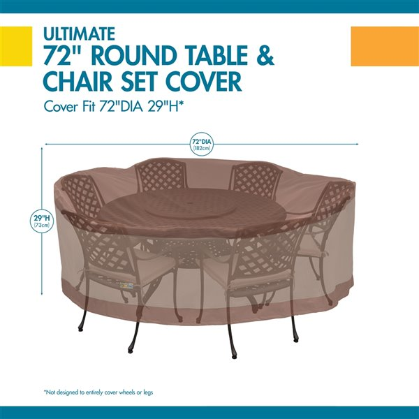 Duck Covers Ultimate Round Table and Chair Set Cover - Polyester - 72-in - Mocha Cappuccino