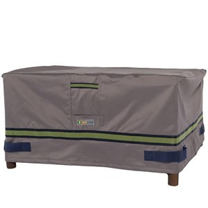 Duck Covers Soteria Rain Proof Rectangular Patio Ottoman Table Cover - Polyester - 25-in - Grey