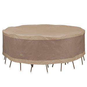 Duck Covers Elegant Round Table and Chair Set Cover - Polyester - 96-in - Swiss Coffee