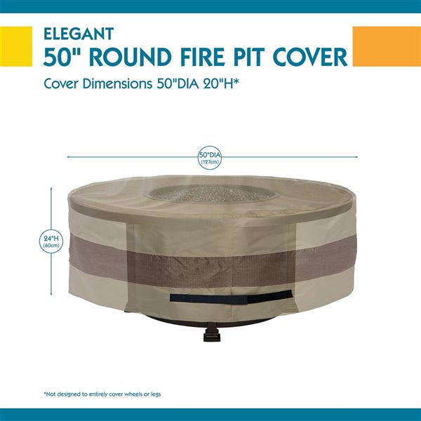 Duck Covers Elegant Round Fire Pit Cover - 50-in - Swiss Coffee