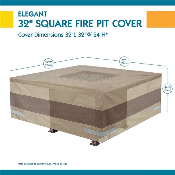 Duck Covers Elegant Square Fire Pit Cover - 32-in - Swiss Coffee