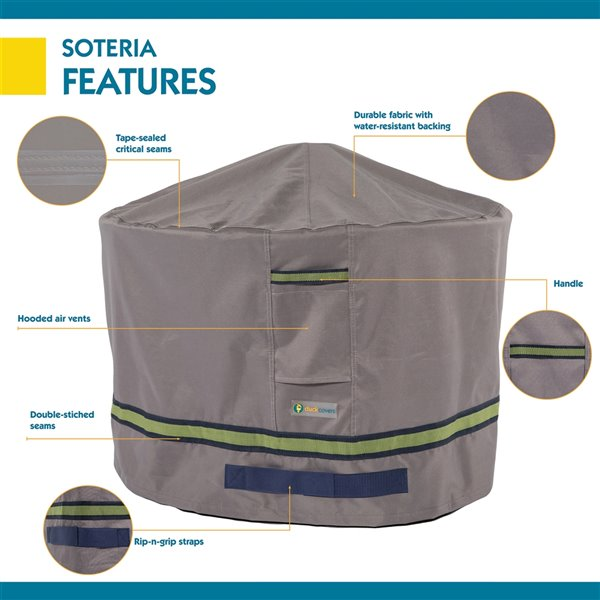 Duck Covers Soteria Rain Proof Round Fire Pit Cover - 50-in - Grey