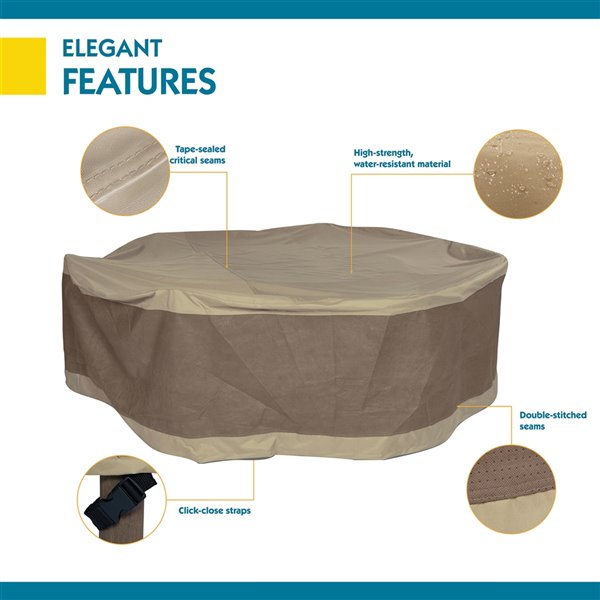 Duck Covers Elegant Round Patio Table and Chair Cover - Polyester - 90-in - Swiss Coffee