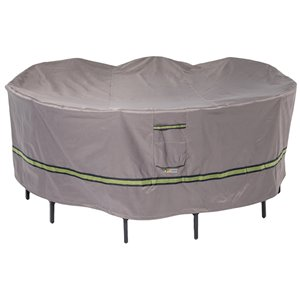 Duck Covers Soteria Rain Proof Round Patio Table Cover - Polyester - 108-in - Grey