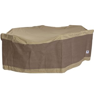 Duck Covers Elegant Rectangular/Oval Patio Table and Chair Cover - Polyester - 84-in x 127-in - Swiss Coffee