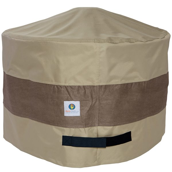 Duck Covers Elegant Square Fire Pit Cover - 36-in - Swiss Coffee
