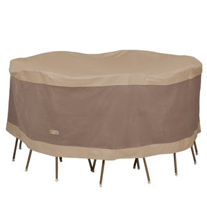 Duck Covers Elegant Round Table and Chair Set Cover - Polyester - 72-in - Swiss Coffee