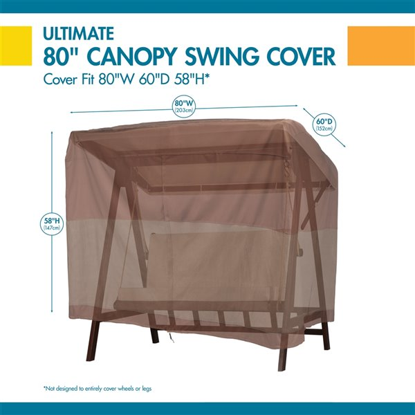 Duck Covers Ultimate Canopy Swing Cover - Polyester - 62-in - Mocha Cappuccino