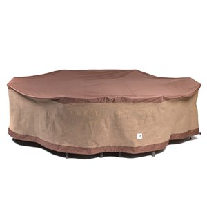Duck Covers Ultimate Rectangular/Oval Patio Table Cover - Polyester - 80-in - Mocha Cappuccino