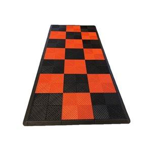 Tuile de plancher pour garage MotorMat par SwissTrax, 15,75 po x 15,75 po, orange et noir, 45 pièces