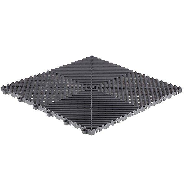 SwissTrax MotorMat Garage Floor Tile - 15.75-in x 15.75-in - Grey and Black - 45-Piece