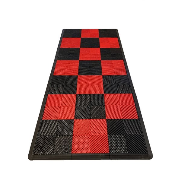 SwissTrax MotorMat Garage Floor Tile - 15.75-in x 15.75-in - Red and Black - 45-Piece