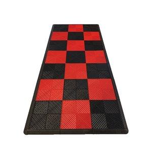Tuile de plancher pour garage MotorMat par SwissTrax, 15,75 po x 15,75 po, rouge et noir, 45 pièces