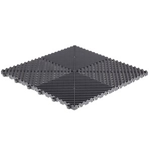 SwissTrax CarTrax Rib Garage Floor Tile - 15.75-in x 15.75-in - Slate Grey - 24-Piece