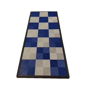 SwissTrax MotorMat Garage Floor Tile - 15.75-in x 15.75-in - Blue and Silver - 45-Piece
