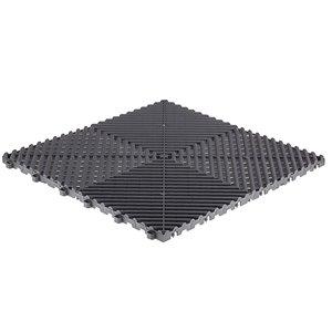 Tuile de plancher pour garage CarTrax Rib par SwissTrax, 15,75 po x 15,75 po, gris ardoise, 6 pièces