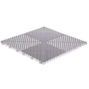 Tuile de plancher pour garage CarTrax Rib par SwissTrax, 15,75 po x 15,75 po, perle argentée, 6 pièces