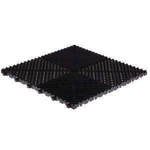 SwissTrax CarTrax Rib Garage Floor Tile - 15.75-in x 15.75-in - Black - 24-Piece
