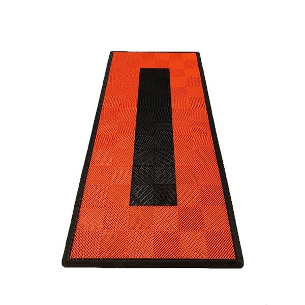 SwissTrax MotorMat Garage Floor Tile - 15.75-in x 15.75-in - Orange and Black Stripes - 45-Piece