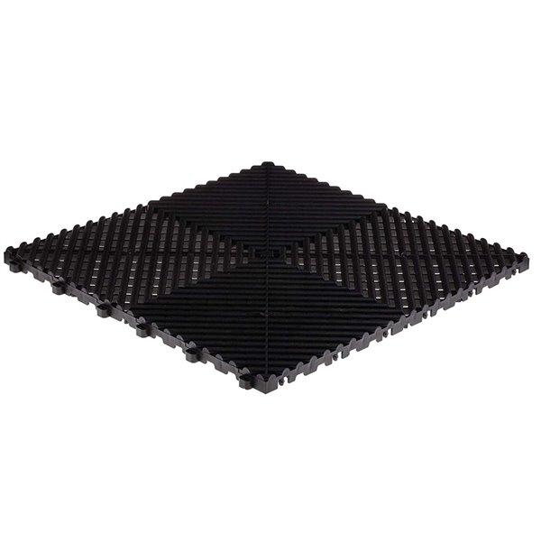 SwissTrax MotorMat Garage Floor Tile - 15.75-in x 15.75-in - Silver and Black - 45-Piece