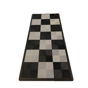 Tuile de plancher pour garage MotorMat par SwissTrax, 15,75 po x 15,75 po, argent et noir, 45 pièces
