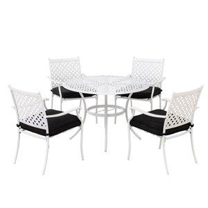 Ensemble de patio Paradise de Sunjoy avec coussins noirs, aluminium blanc, 5 pièces