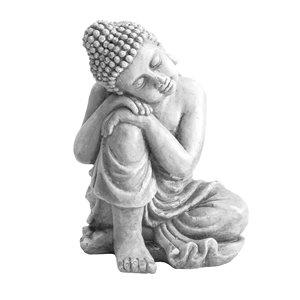Sunjoy Skyler Decorative Buddha Garden Statue - 16.14-in - Light Grey