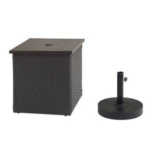 Sunjoy Umbrella Stand and Wicker Side Table - Dark Brown