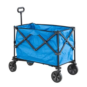 Sunjoy Odell Outdoor Folding Serving Cart with Wheels - Blue Plastic