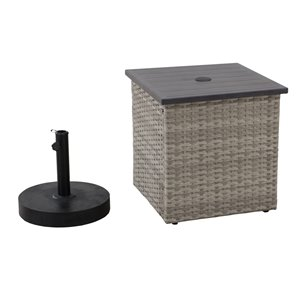 Sunjoy Umbrella Stand and Wicker Side Table - Light Brown