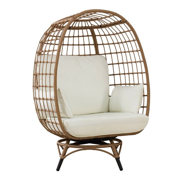 Sunjoy Randy Swivel Patio Egg Chair with Removable Cushions - Steel - Light Brown