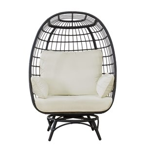 Sunjoy Bonnie Swivel Patio Egg Chair with Removable Cushions - Steel - Black