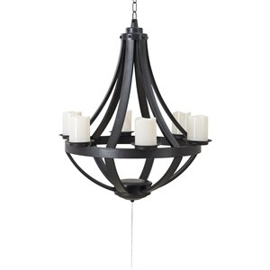 Sunjoy Cecil Outdoor Chandelier with 6 Battery-Powered LED Candles - Black Plastic